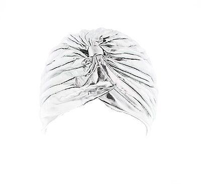 Women's Metallic Silver/ Gold Turban Stretch Headwrap Vintage Pleated Hair Wrap 3