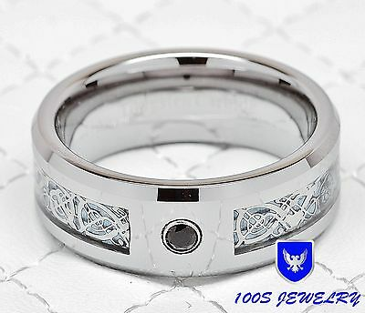 Mens Tungsten Wedding Band Ring Silver Celtic Dragon Black CZ Inlaid Size 6-15