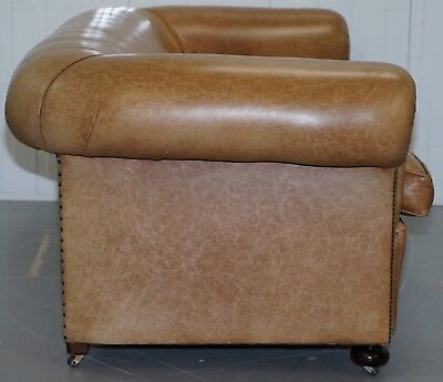 1 Of 2 Vintage Victorian Style Restored Brown Leather Club Sofas Coil Sprung 10