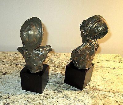 Pair Vtg ITALIAN- Bronzed PORCELAINS- FISHERBOY & MILKMAID- signed E.TASCA- nos 5
