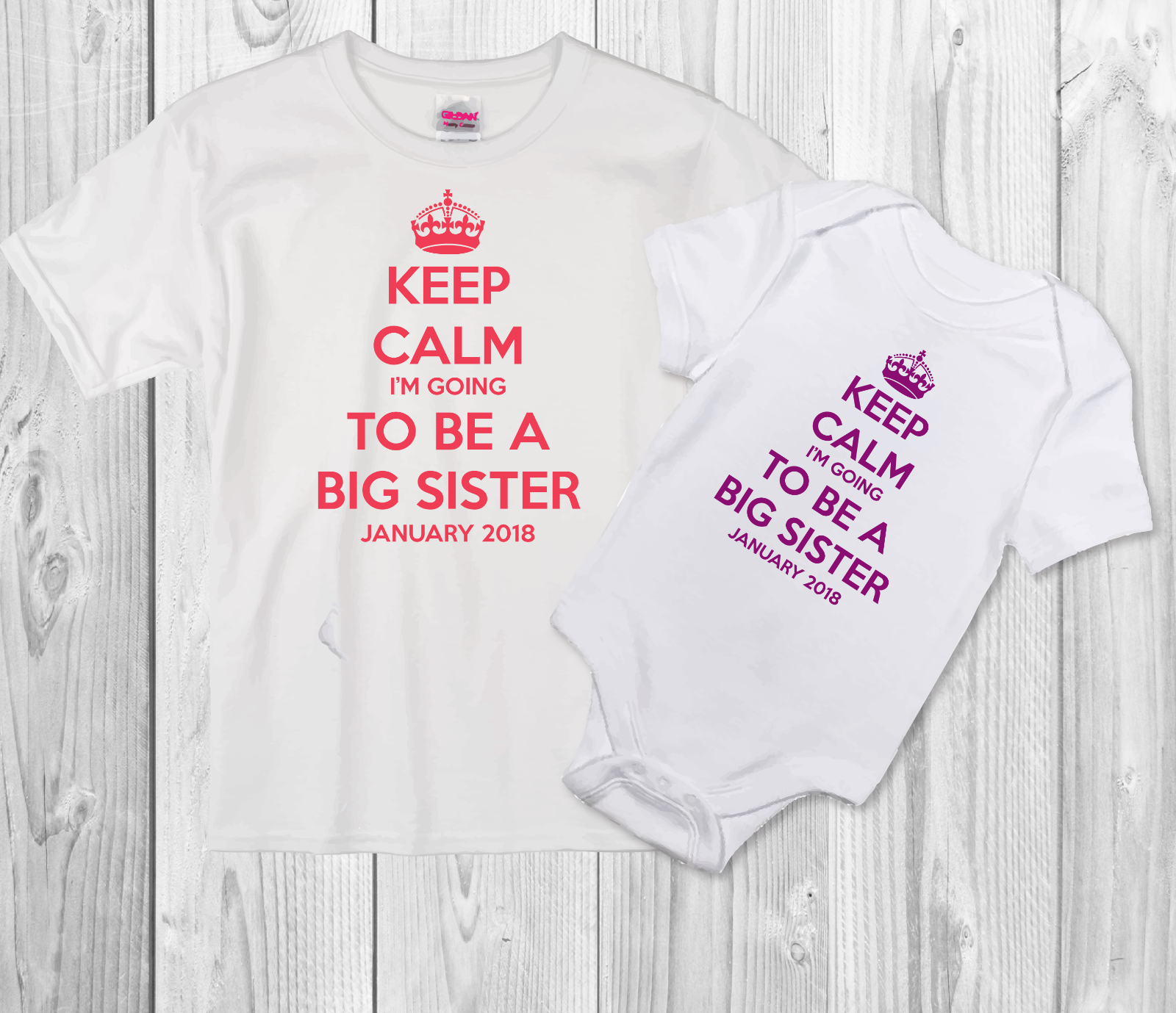 Big Brother Sister T-shirt or I/'m going to be butterfly football personalised
