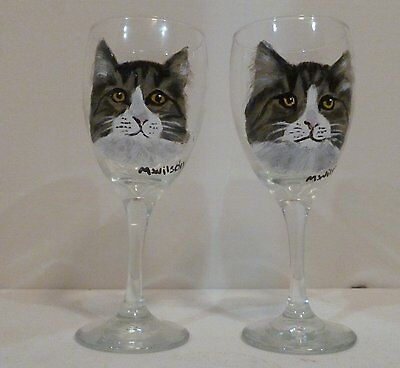 Custom Hand Painted Cat Dog Pet Wine Glasses Set Of 2 From Your Pets
