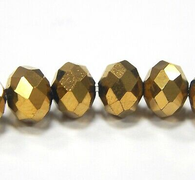 20 Glasperlen Fire-Polished 8mm Gold Braun Tschechische Kristall Perlen BEST X51 2