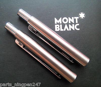 2X Montblanc Slim Line Ballpoint No.2938 Stainless Steel & Gold Cap Part Pen NOS 3