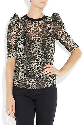 6e8fc7ee777 4 4 of 9 NWOT ISABEL MARANT Silk Leopard Top $545 SZ 0 Ruched Sleeve Shirt  Blouse Rare!