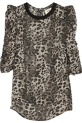 ea572b3ee77 1 of 9 NWOT ISABEL MARANT Silk Leopard Top $545 SZ 0 Ruched Sleeve Shirt  Blouse Rare!