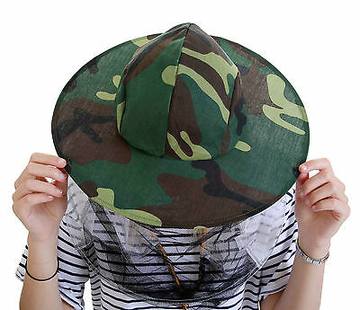 2 x Beekeeping CAMOUFLAGE BEE HAT AND VEILS - Double hoop and toggle