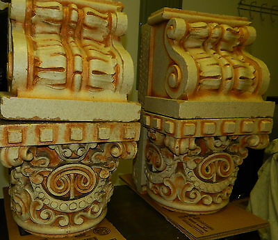 Antique Clay Fired Architectural Capitols, Heavy Glaze, Historical Building 8