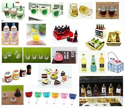 Dolls House Miniature Food Drink Wine Cup Bottle Jam Jar Cake Accessory 1:6 1:12 2