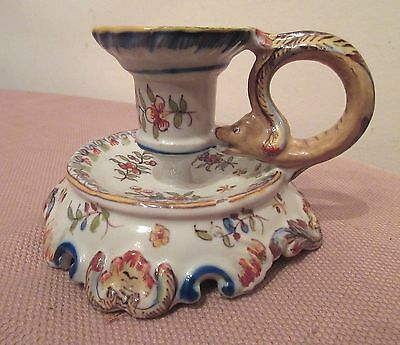 antique handmade Rouen Cornucopia French majolica porcelain candle stick holder 8