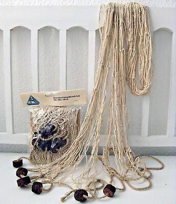 Deko Fischernetz Beige 200 x 150 cm Baumwolle mit Schwimmern