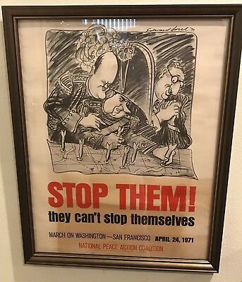 "Original Vintage 1971 ""STOP THEM!"" Vietnam Anti War Nixon Propaganda Poster Art 11"