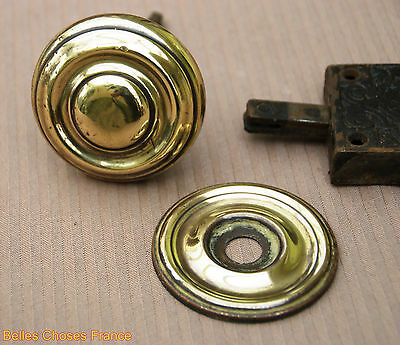 Antique Rare french iron door lock with gold copper round handle 3