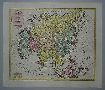 Asien - Asia secundum - Rare, altkolorierte Landkarte von Lotter - 1770