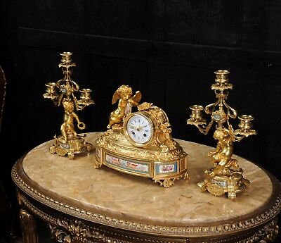 Japy Freres ~ Early French Ormolu And Sevres Porcelain Clock Set C1850 ~ Cherubs 5