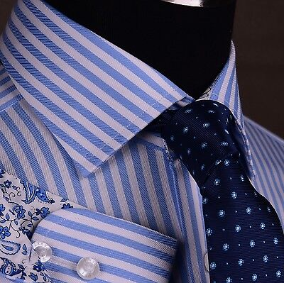 Mens Blue Dress Shirt Formal Business Striped Geometric Twill Cool Paisley Boss