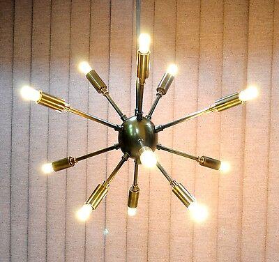 Antique Brass Mid Century 12 Arms Sputnik chandelier Lamp