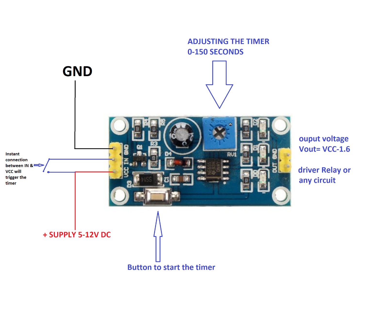 Ne555 Dc 5 12v Delay Relay Shield Timer Switch Module 0 150 Second Circuit Toggle Using A 555 4 Of Adjustable