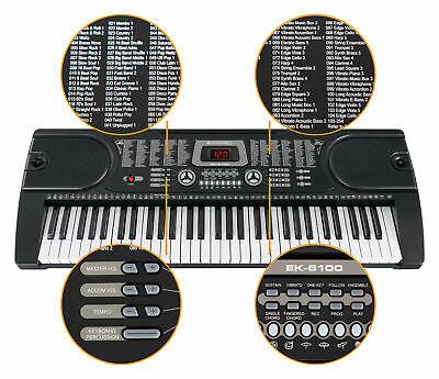 Digital 61 Tasten Keyboard E-Piano Klavier 255 Sounds Rhythmen Lern Funktion LCD 2