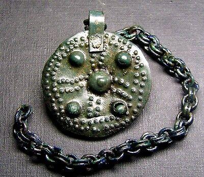 Ancient Bronze Viking Big PENDANT Amulet. Chain. 2