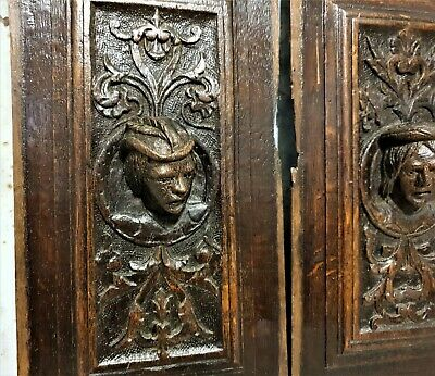 16 th Pair renaissance portrait panel Antique french oak architectural salvage 8