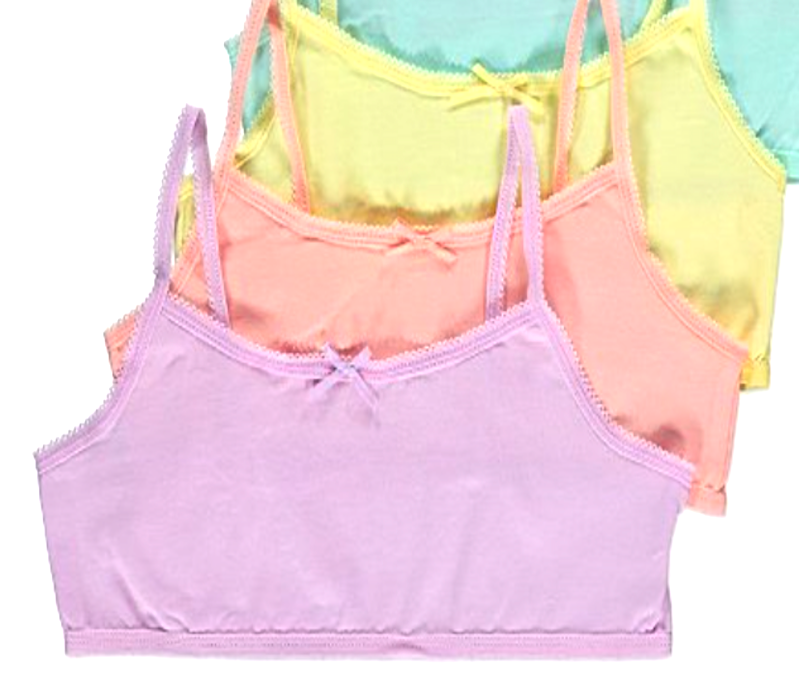 Kids Girls Sleeveless Short Crops, Camisoles 3 Vests Pack 100% Cotton 3 to 10YRS 4