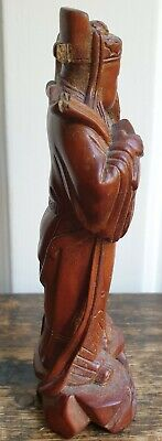 Antique Carved Wood Chinese Figurine. Old man carrying. W/damage. 3
