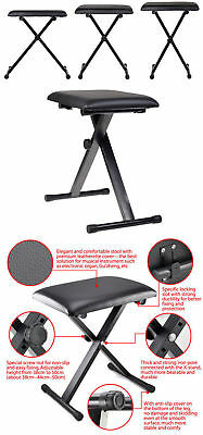 Portable Piano Stool Adjustable 3 Way Folding Keyboard Seat Bench Chair Black 4