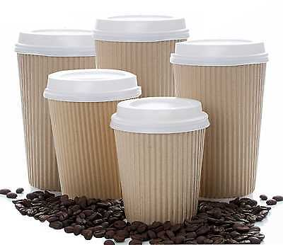 Insulated Ripple Kraft Disposable Paper Coffee Cups White lids from 4 up to 20oz 2