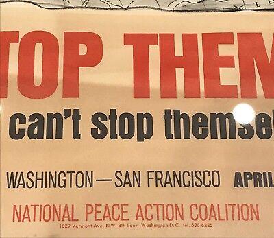 "Original Vintage 1971 ""STOP THEM!"" Vietnam Anti War Nixon Propaganda Poster Art 3"