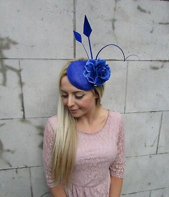 Royal Blue Rose Quill Flower Feather Pillbox Hat Fascinator Hair Clip Races 5610 3