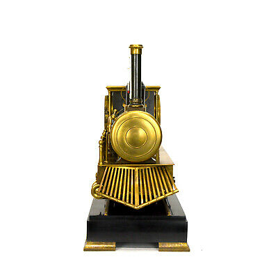 Large French Style 8 Day Brass Automaton Locomotive Industrial Train Clock 3
