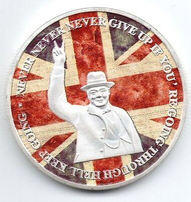 Winston Churchill Gold & Silver Coin Union Jack World War II 1874 1965 I Sir UK 7