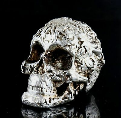 Collect China Old Tibet Silver Hand-Carved Vicious Skull Moral Exorcious Statue 2