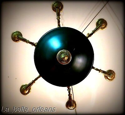 Charming Empire Tole And Brass Chandelier . 6 Arms / Snakes !!! 3