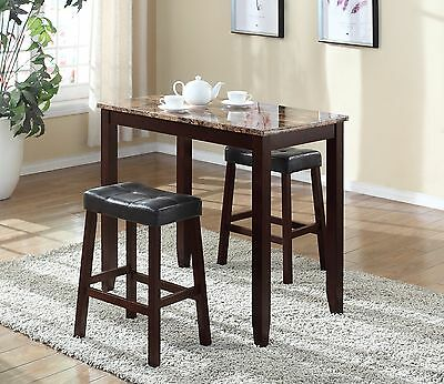 PUB TABLE SET 3 Piece Bar Stools Dining Kitchen Furniture Counter ...