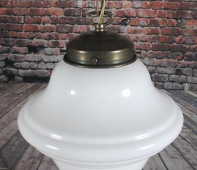 Glas weiss Tropfenform Pendellampe Jugendstil Lampe Meble i wyposażenie wnętrz Hängelampe Antik Messing Wykonane od 1945