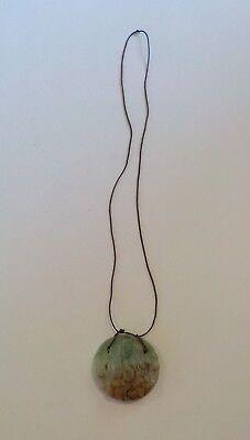 Chinese Carved Jade / Jadeite Stone Medallion Pendant, Chinese Figure  (#3) 2