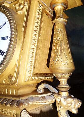 Beautiful Fireplace Clock Pendule Brass Bronze Fire-Gilded Antique Baroque 5