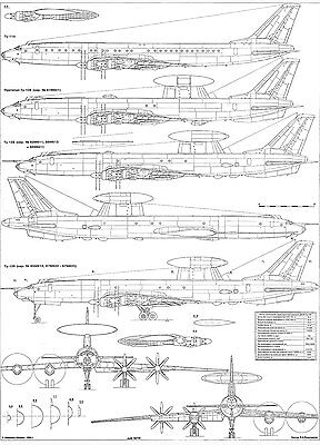 PLS-100109 1//100 Tupolev Tu-126 Full Size Scale Plans two A1 format pages