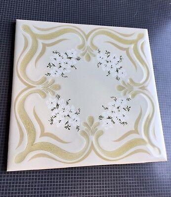 Vintage New Porcelain Floral Glazed Tile By Marca Incepa Made In Brazil 🇧🇷 2