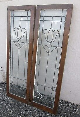 "Great Size Nice Pair Of Antique Beveled & Flat Glass 53"" Side-Lites Estate # 613 5"