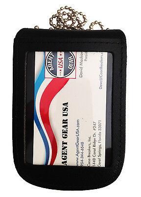 Leather Detective Badge & ID Holder - Neck Chain Badge Holder