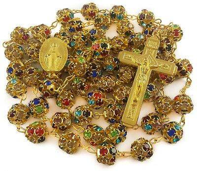 Colorful Zircon Beads Golden Rosary Catholic Necklace Miraculous Medal Cross 6