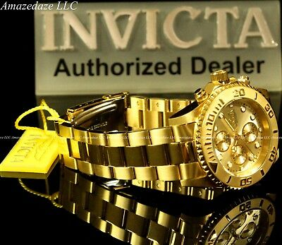 NEW Invicta Mens 18K Gold Plated Stainless Steel Golden Dial Chronograph Watch!! 5