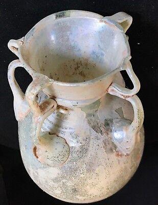 Ancient Roman Glass Bottle  100 B.c. - 200 A.d.! Nice Iridescence & Decoration