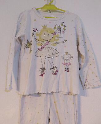 H&M ° hübscher Schlafanzug Gr. 110 116 weiß 2-Teiler Mädchen Nachtwäsche Pyjama 2