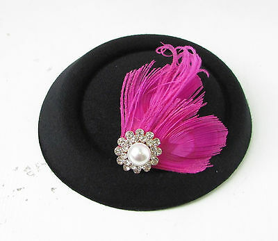 Black Hot Pink Silver Feather Pillbox Fascinator Hat Races Vintage Hair Clip 138 7