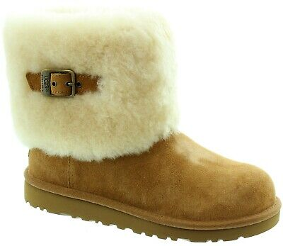 UGG Australia Ellee Boots KIds Chestnut Buckle Detail New UK 1 Eur 32 4