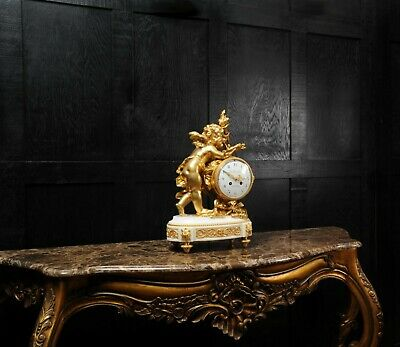 Superb Antique French Ormolu And White Marble Clock - Cupid 3